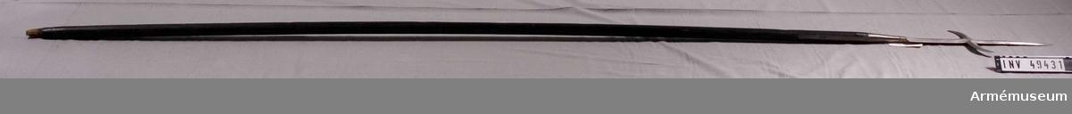 Grupp D I. Bardisan för pikenerare. 1700 ca. Senare kallad pik med korsjärn. Ursprunglig längd 297 cm, vikt 2,31  kg.