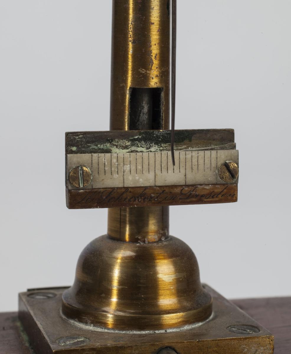 Vekta er montert på en avlang trekasse som har avrundede kanter. Toppen av kassa er mindre enn bunnen, slik at veggene blir skrå. Vektarmen er festet på toppen av en stang og har to små, flate skåler som henger i snorer. Opprinnelig hadde skålene silkeoppheng. Nederst på stanga er en lang skrue som brukes til å frigjøre vekta. Skalaen har ikke vektangivning.