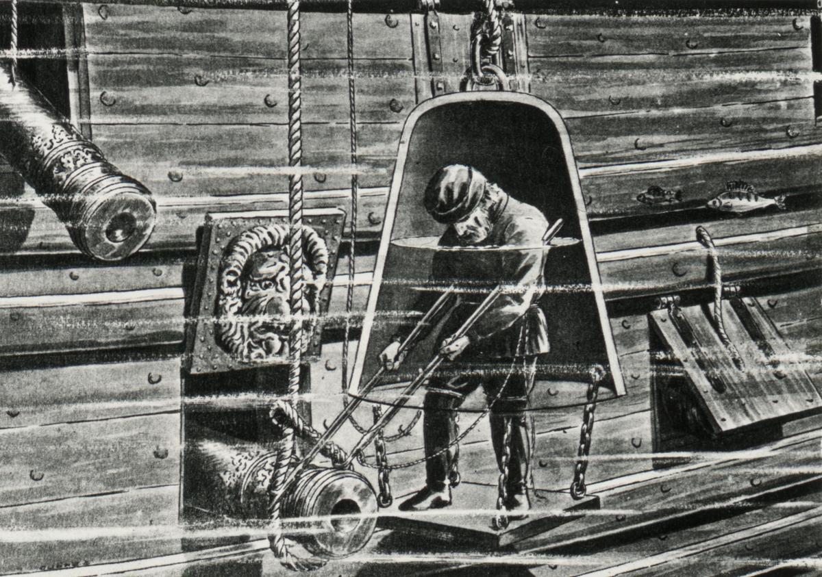 Principskiss som visar hur det kan ha gått till när man på 1600-talet bärgade en stor del av Vasas kanoner med hjälp av dykarklocka. 1664, bärgade Albreckt von Treileben och Andreas Peckell Vasas kanoner. Med hjälp av  dykarklockan lyckades de två att få upp mer än 50 kanoner.