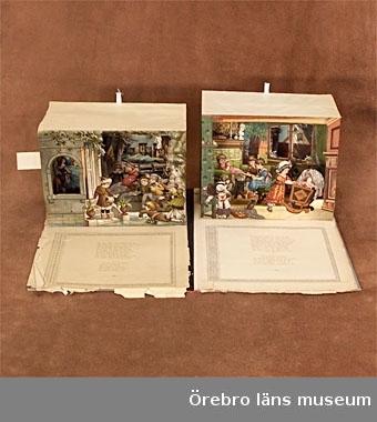 """Teaterbilderbok.Omslag av gråblå papp med rygg av rött klotband. På omslagets framsida ett färgtryck föreställande en scen inramad av röda sammetdraperier med guldfrans. Vid scenens sidor loger med barn och framför scenen en orkester med barn i 1700-talsdräkter. På scenen två flickor i förgrunden och i bakgrunden en pojke och en flicka på en bänk mot en kuliss av ett vatten med båtar. Titel i svart tryck ovanför, """" Allranyaste Teater-Bilderbok med rörliga figurer """". Stockholm Oscar L. Lamm. Boken innehåller fyra uppfällbara scener som utgör illustr. till de fyra lustspelen """" Våren """", """" Sommarutflykten """", """" Vid äppelplockningen """" och """" Julen """". På varje uppslag står texten till scenen på vänster sida och på höger är scenen med verser under. Scenen fälls upp genom att man drar i ett kort tygband. Lustspelen är skrivna av Isabella Braun. Tryck hos J. F. Schreiber i Esslingen. Bladen har lossnat från pärmen och är trasiga i kanten.Mått: Längd: 350 mm. Bredd: 265 mm.Gåva av fru Eva Roessingh, född Schale i Viby, Geråsen-Holland."""