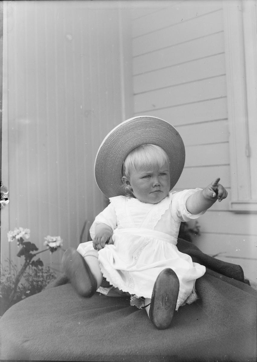 Et lite barn, trolig Iakob Ihlen Mathiesen, sitter i en huskrok. Barnet sitter på et pledd som er lagt oppå noe som hever barnet fra bakken. Blomster titter opp fra blomsterbed. Barnet peker bestemt mot noe vi ikke ser.