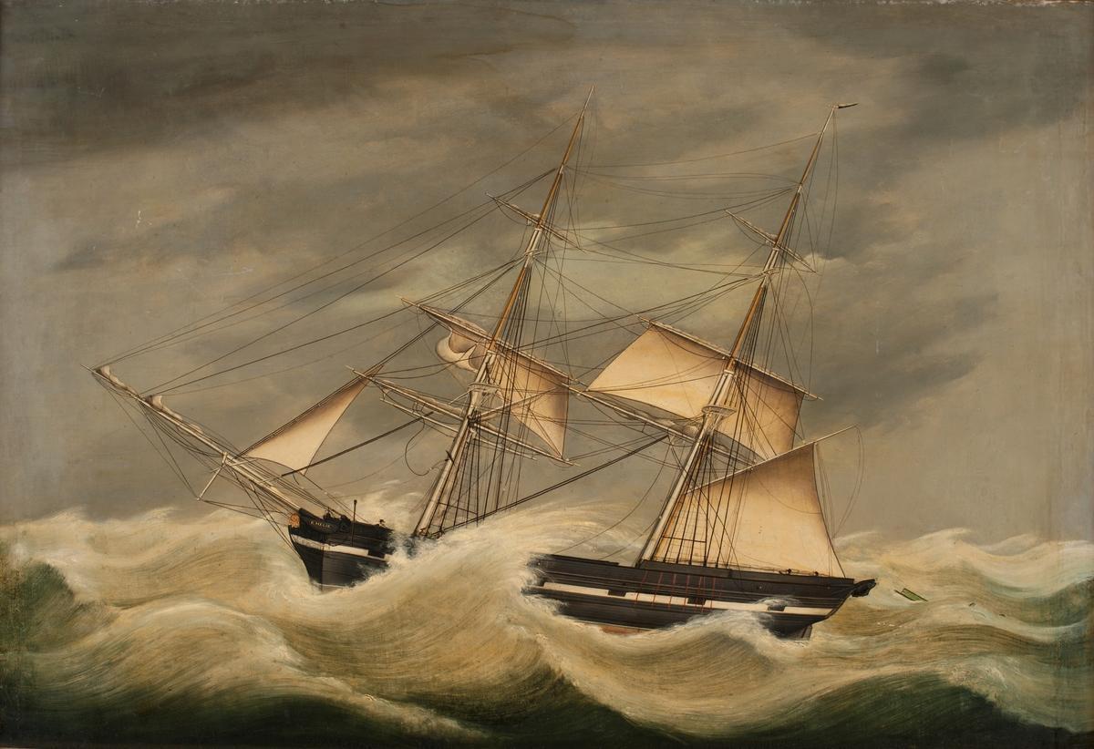 2-mastad brigg byggd på kravell av ek och fur med fallande stäv och flat akterspegel. Längd 95,4 fot, bredd 22,8 fot, djup 15,9 fot.  Fartyget ligger bi för babords halsar i orkan med våldsam överbrytande sjö.  8 juli 1845 startade briggen från Stockholm för en resa till Batavia (Jakarta). 13 juli stannade briggen i Helsingör för komplettering av proviantförrådet och fortsatte till Kapstaden där man lossade 504 standards bräder, 25 tunnor tjära och 5 tunnor beck. 4 november seglade man vidare till Batavia med restlast av järn. 21 januari 1846 vände Emilia hem mot Stockholm dit briggen anlände i slutet av juni med last av socker och kaffe. Ur Bertil Wulffs text Briggen Emilia från Bjäre härads hembygdsförenings årsbok - kopia av texten i sin helhet finns i bilagepärm.