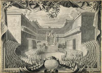 Tegning av Karl XIIs hyllest. Artist: Jacques Foucquet den yngre