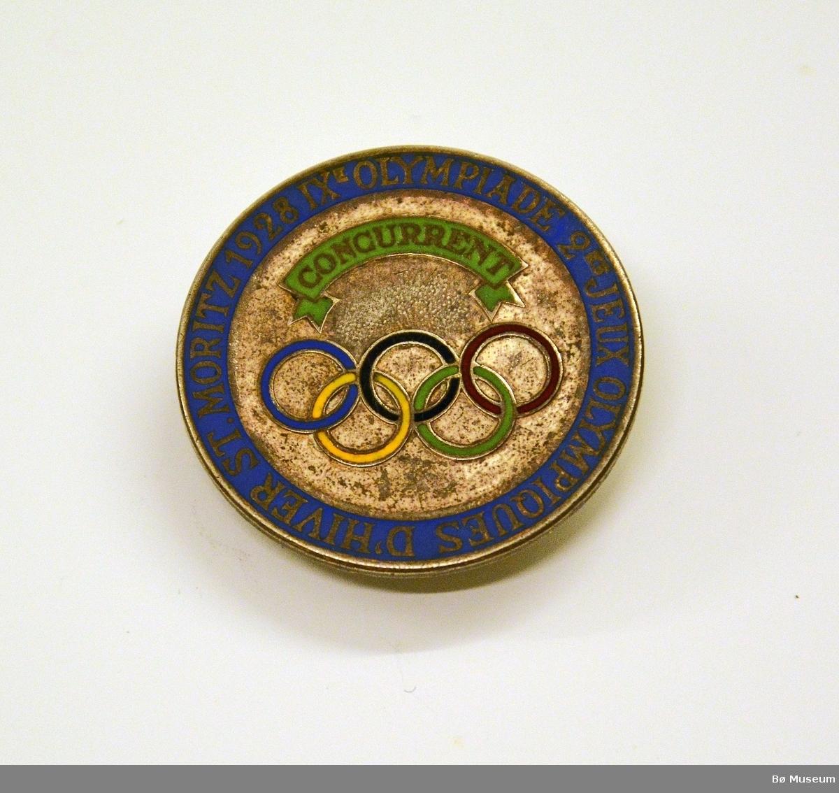Deltakermedalje (pin) Innskrift: IX OLYMPIADE 2 JEUX OLYPIQUES D'HIVER ST. MORITZ 1928.