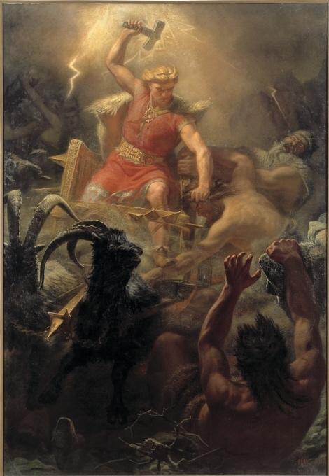 Enligt fornnordisk mytologi hörs blixt och dunder från himlen när asaguden Tor vredgas. Han far då fram i sin vagn, dragen av bockarna Tanngnjóstr och Tanngrisnir, i jakt på ondskan i form av jättar. I kampen mot dem svingar han sin hammare Mjölner och drar åt svångremmen på sitt kraftbälte Megingjord, vilket får hans styrka att växa. Psykologiskt sett är Tor rätt enkelt funtad, till skillnad från grubblaren Oden. Han dyrkades främst av bönder och trälar. I Mårten Eskil Winges tolkning är Tor stark, blond, beslutsam och orädd. Målningen fick ett mycket positivt mottagande när den för första gången vi¬sades på Nationalmuseum år 1872. Intresset för den fornnordiska historien och gudavärlden låg i tiden. Winge var en av flera skandinaviska konstnärer som under 1870-talet målade asagudarna. Deras målningar och skulpturer präglar än i dag vår före¬ställning om vikingen och asaguden. Winges samtid tolkade målningen som en allmän skildring av det godas kamp mot det onda. I modern tid har Tors strid med jättarna uppfattats som ett uttryck för nationalistiska eller fascistiska ideal. Den ljushårige Tor har setts som en försvarare av ett nordiskt ideal som hotas av de mörkhåriga jättarna. Svastikan på Tors kraftbälte har säkert bidragit till att målningen blivit populär hos olika högerextrema grupper. För Winge och hans samtid var svastikan en dekorativ och ålderdomlig symbol för solen. Den förekom i arkitektonisk utsmyckning och i olika logotyper.