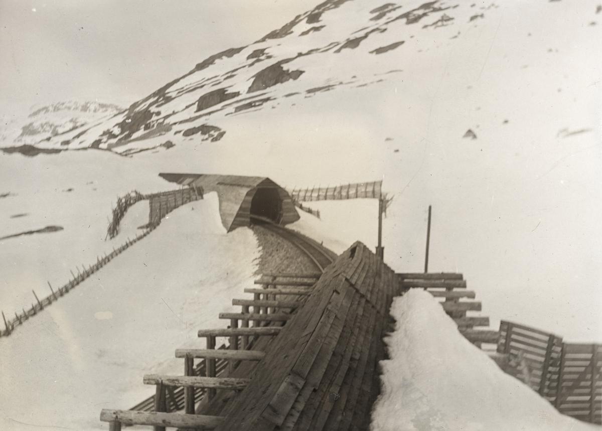 Bergensbanen nær Høgheller mellom Hallingskeid og Finse. I forgrunnen av de første snøoverbyggene, i bakgrunnen en nyere type.