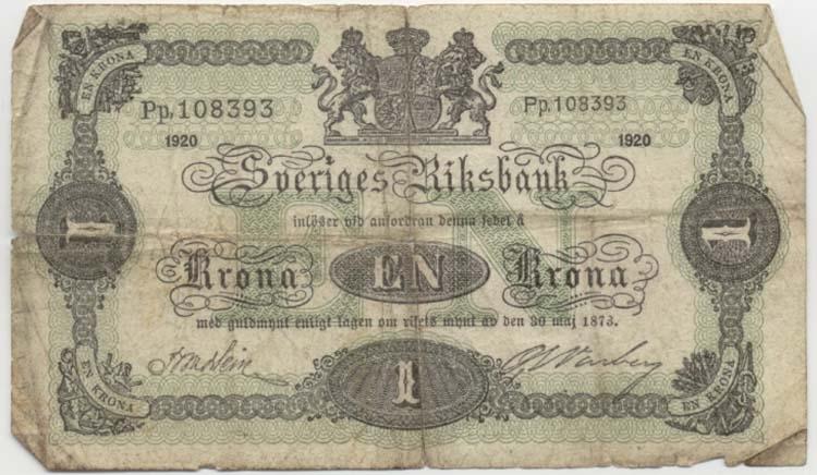 """1 krona 1920 Littbokstav/nr: Pp, 108393 Sedelfakta/kommentar: Sedeltyp """"stora riksvapnet"""" Så kallad kotia. Övrigt: Litteratur: Sveriges sedlar sid 80 nr: 9. Funktion: Betalningsmedel"""