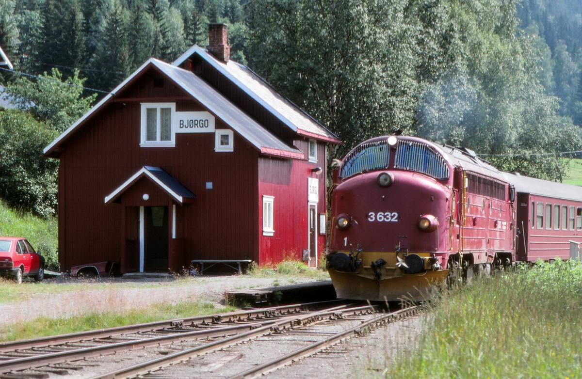 Bjørgo holdeplass med NSB persontog til Fagernes.
