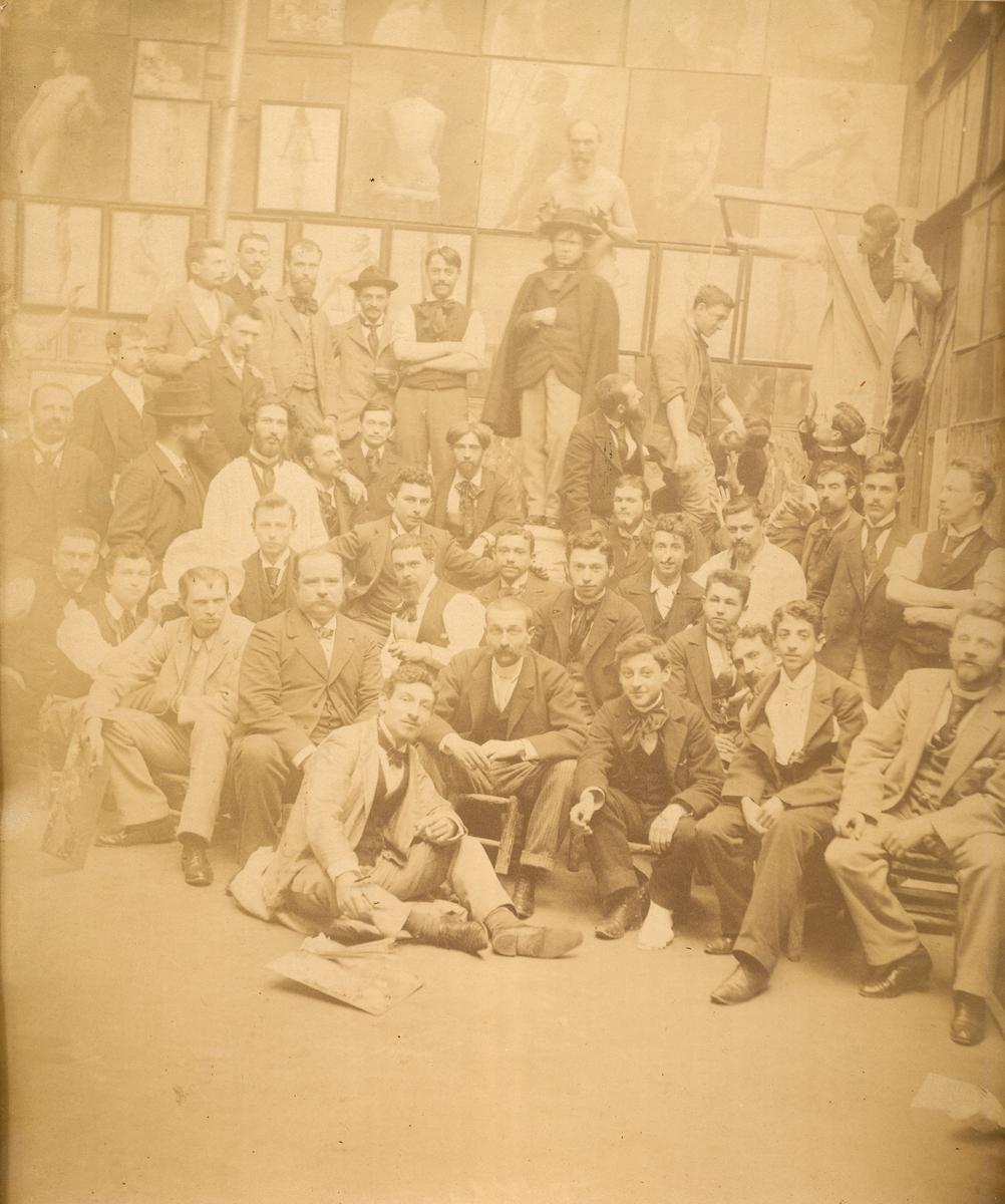 Klassebilde med Otto Valstad ved Académie Julian, Paris.