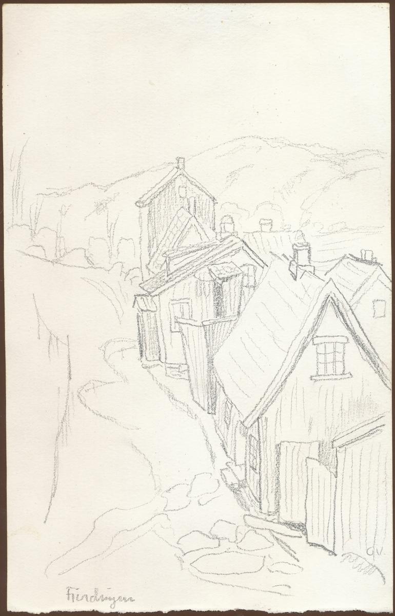 Gate, småhus, (blyant-tegning)