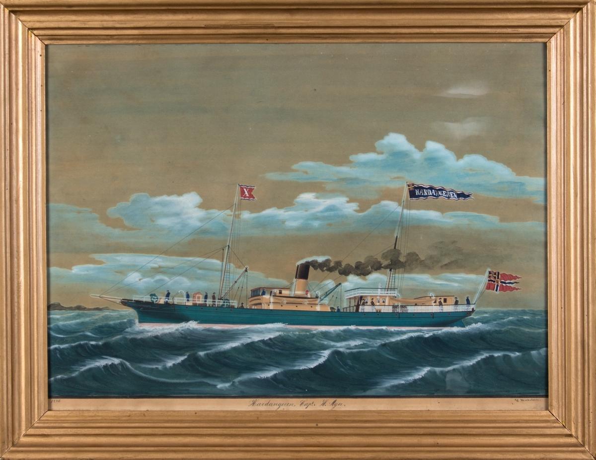 Skipsportrett av DS HARDANGEREN under fart med postflagg akter.