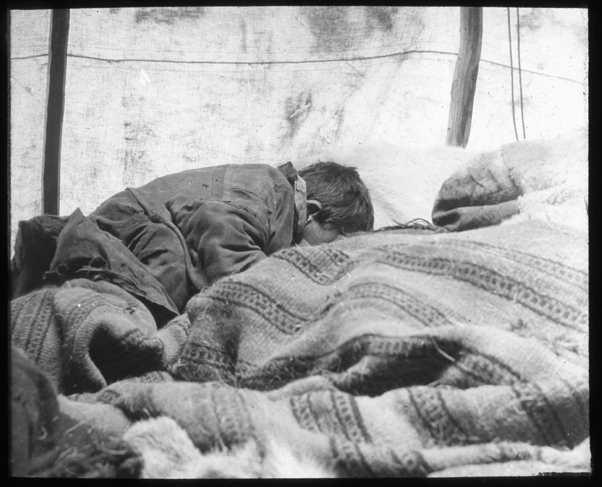 """""""(N.336.) I teltet. G.16."""" står det på glassplaten. Bildet viser et samisk guttebarn inne i teltet, med ansiktet ned i teppene. Barnet har samisk kofte på seg og har kort hår, så det er derfor en antagelse at dette er en liten gutt. Teppet er vevet i et stripete mønster. Lyset fra teltduken i  bakgrunnen. Sengen består av reinsdyrfeller og vevd ullteppe."""