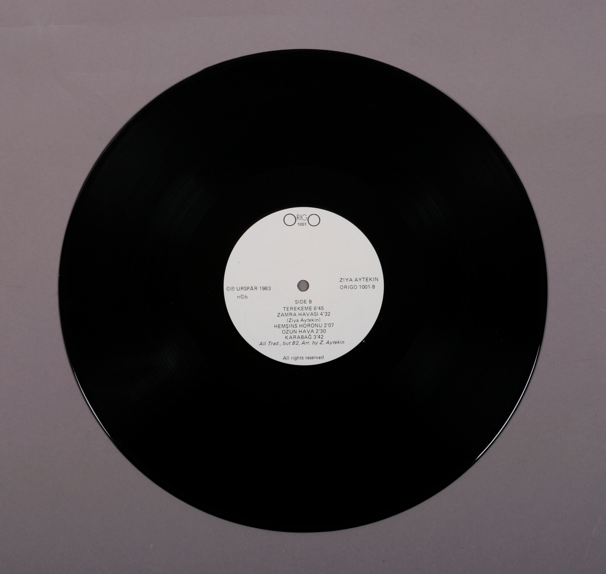 Grammofonplate i svart vinyl og plateomslag i papp. Teksthefte av papir. Postkort. Plata ligger i en papirlomme.