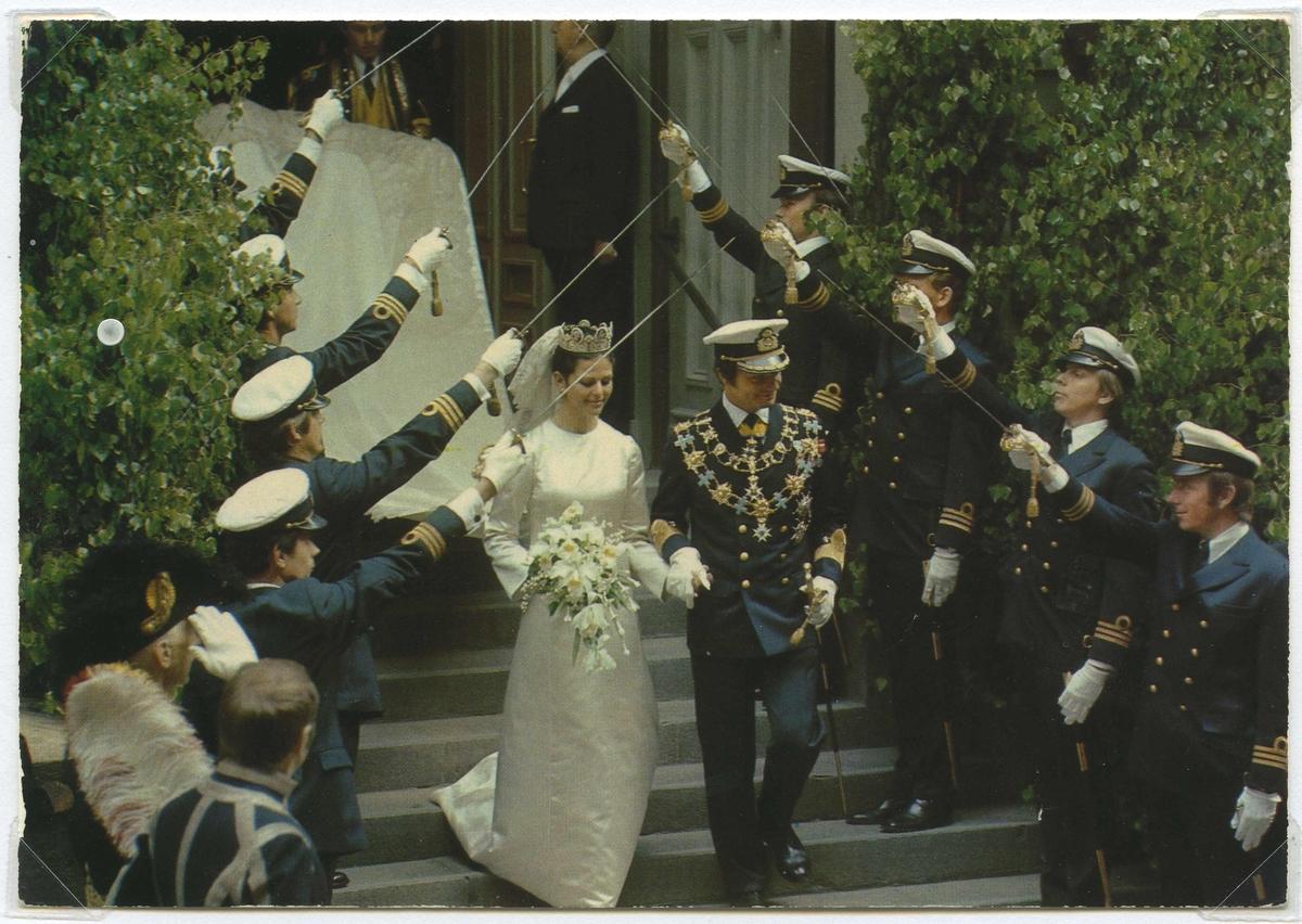 Karl XVI Gustafs bröllop med Silvia i Stockholm 19 juni 1976.