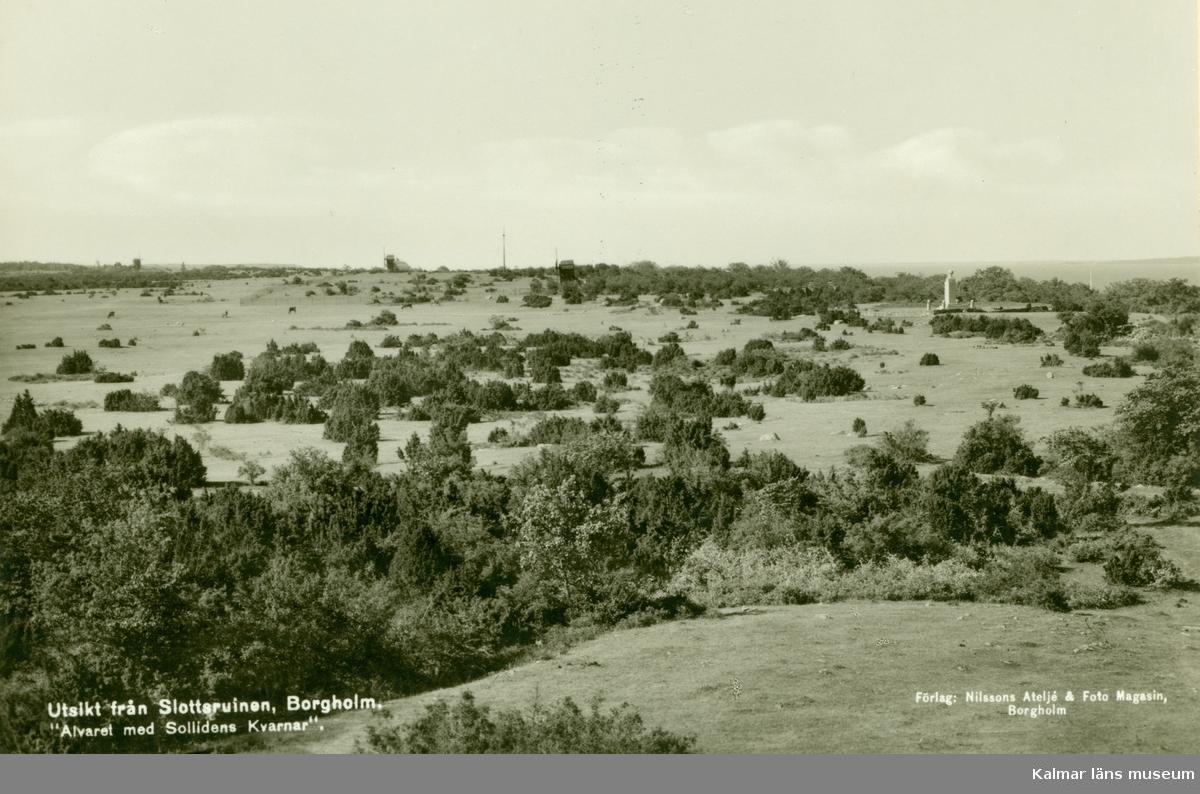 Utsikt från slottsruinen, Borgholm, Alvaret med Sollidens kvarnar.