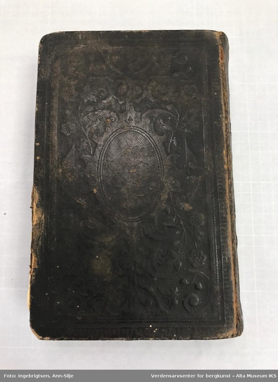 Stor bibel med skinntrekk. På permen er det kartusjmotiv.