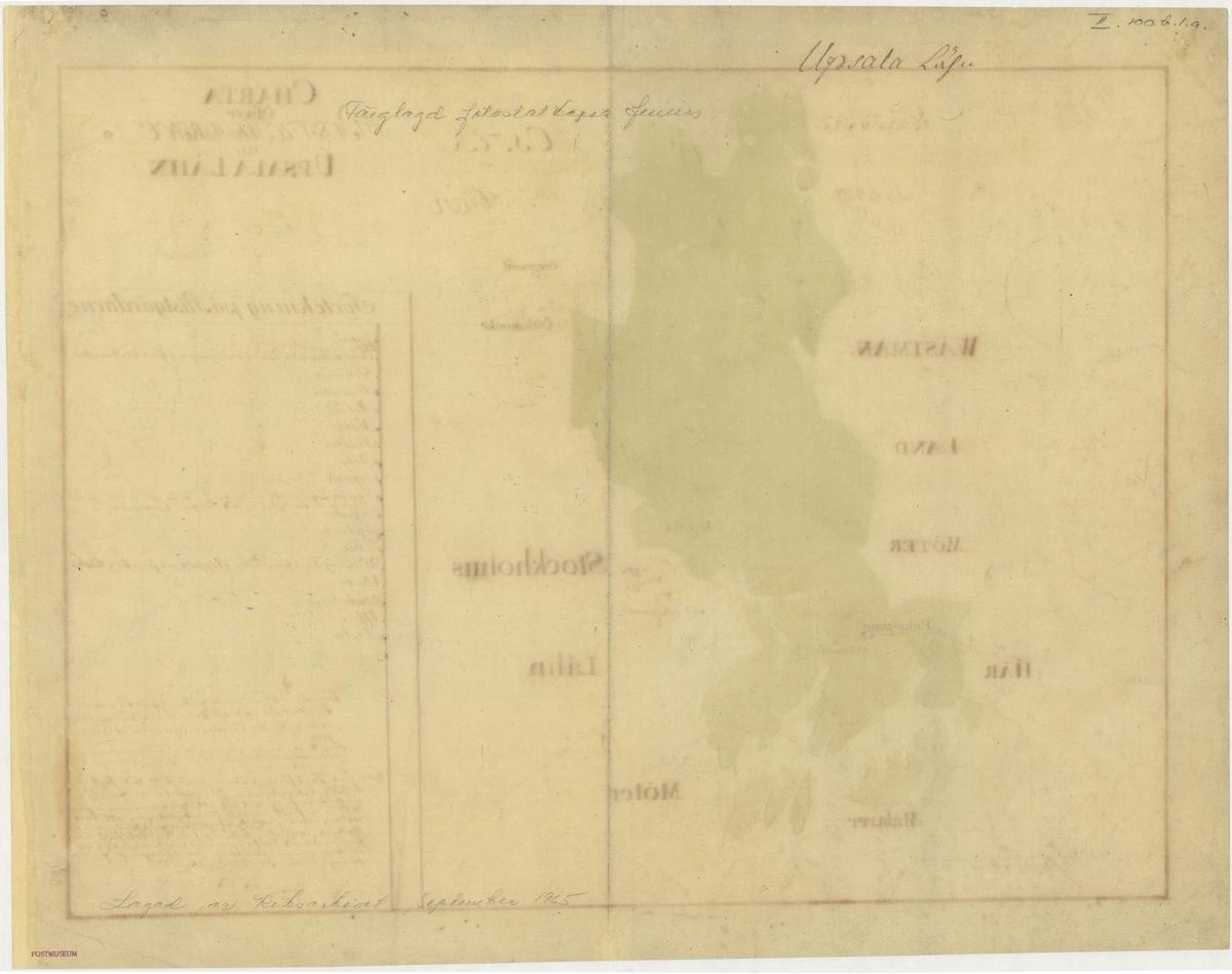 Postkarta över postvägarna i Uppsala län under 1700-talets mitt. Kartan visar endast Uppsala län, de angränsande länen namnges endast vid sidan om. En förteckning över postgårdar finns i nedre högra hörnet. Kartan är ritad och kolorerad för hand.