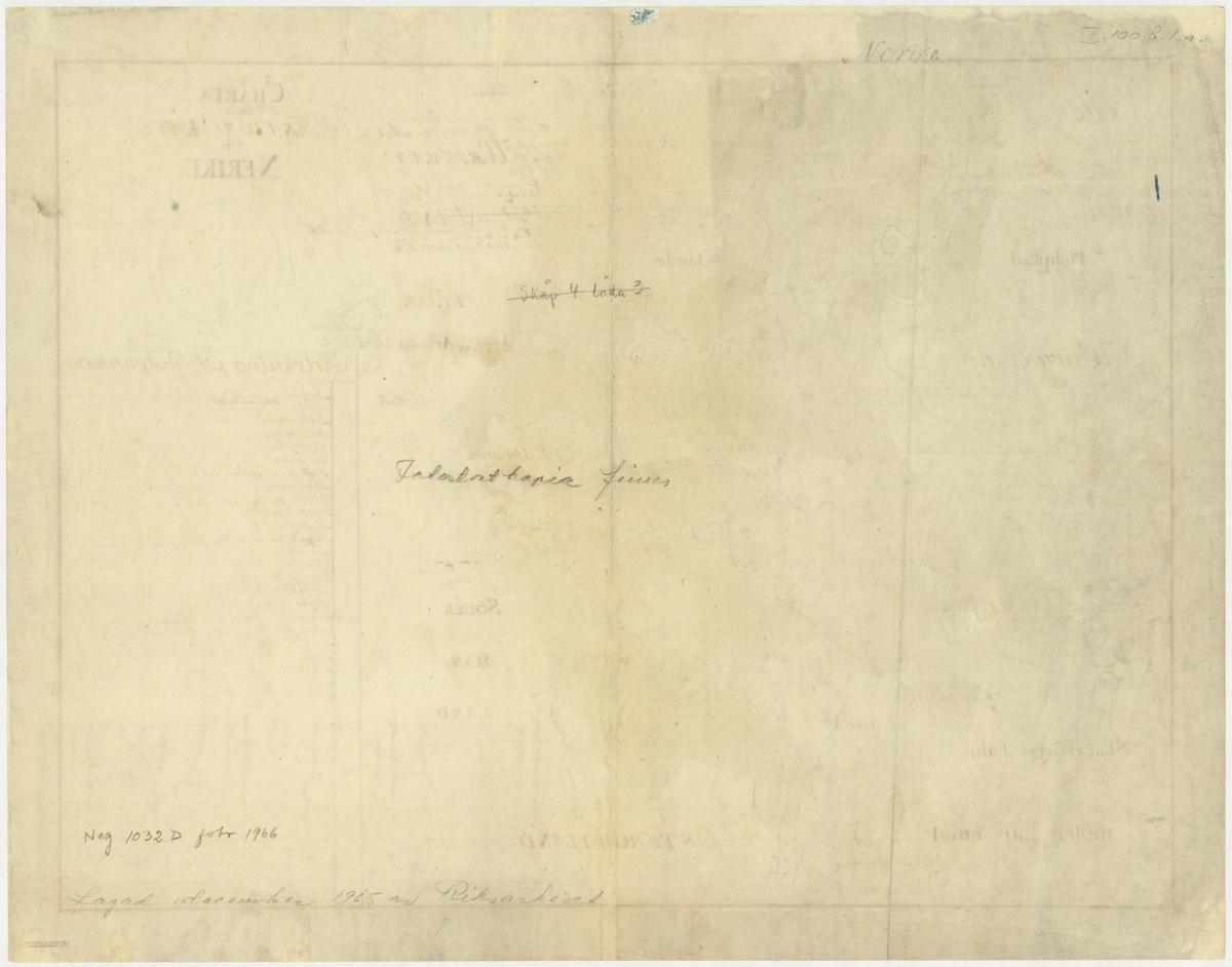 Postkarta över postvägarna i Närke under 1700-talets mitt. Kartan visar endast Närke, de angränsande länen namnges endast vid sidan om. En förteckning över postgårdar finns i nedre högra hörnet. Det finns även anteckningar om postföring. På kartans baksida finns anteckningar om postföringen mellan Värmland och Närke. Kartan är ritad och kolorerad för hand.