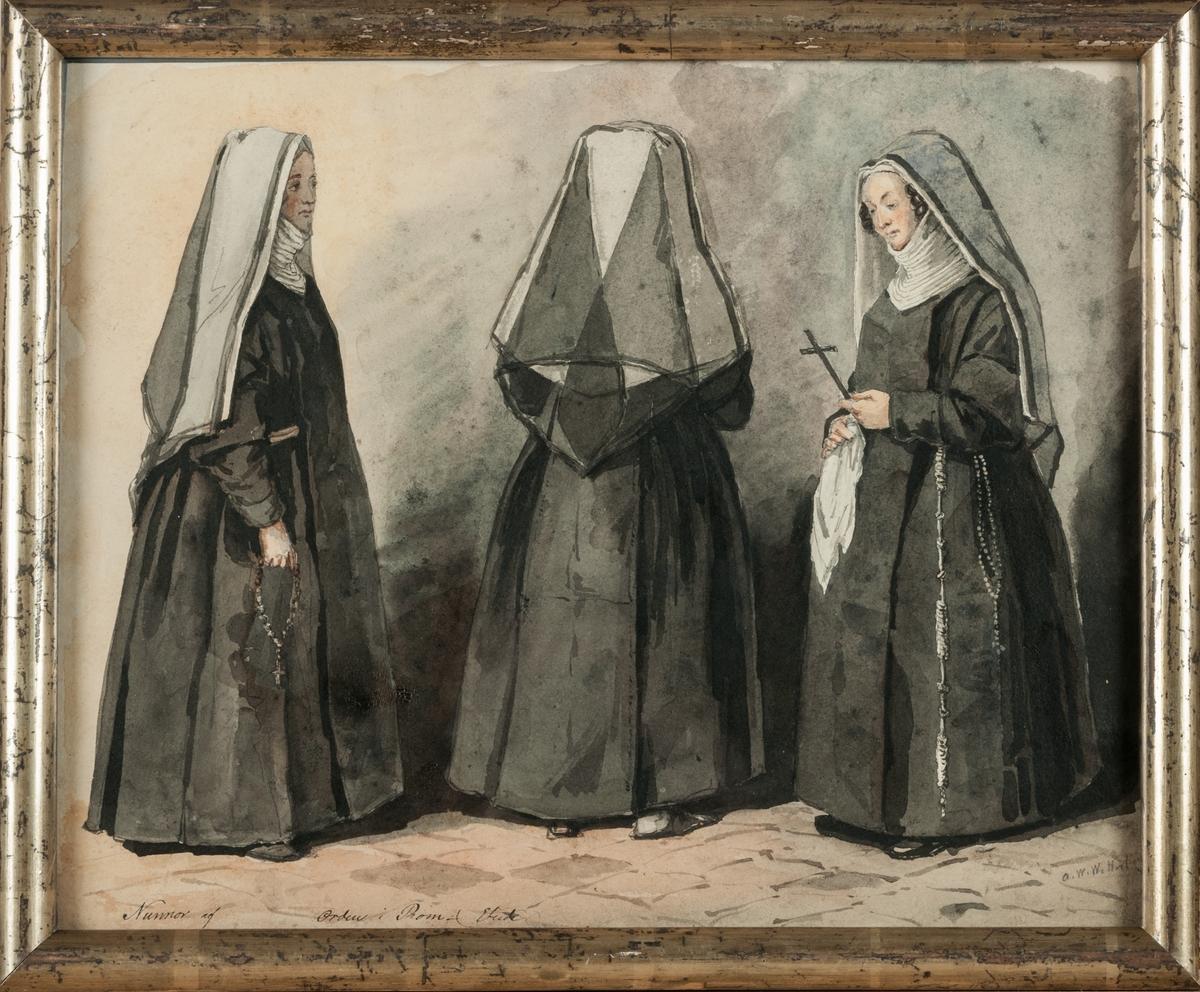 """Akvarell, """"Studie från Rom"""", av Alexander Clemens Wetterling."""