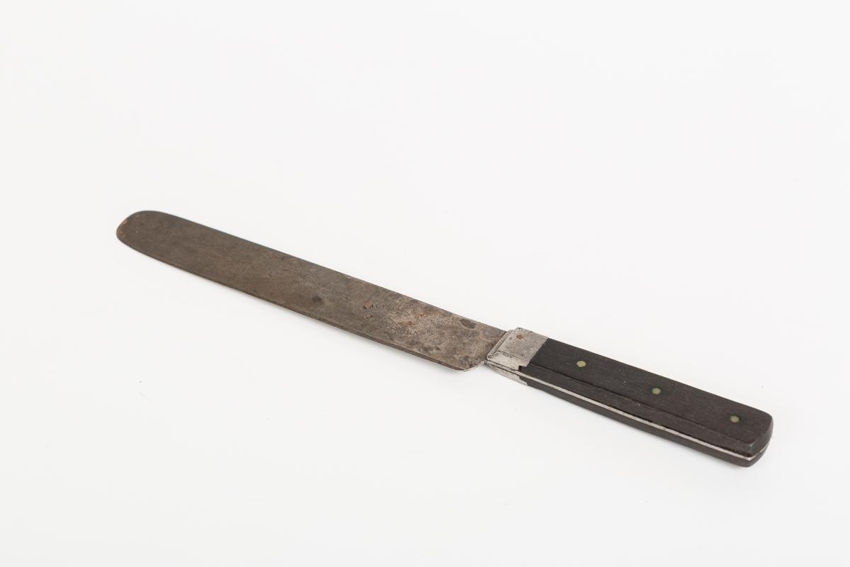 Kniv i stål med gjennomgående tange. Naglede treplater i skaft.
