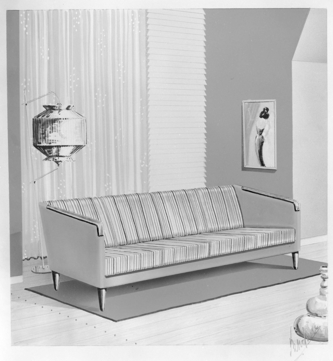 Skisse/teikning av sofa.