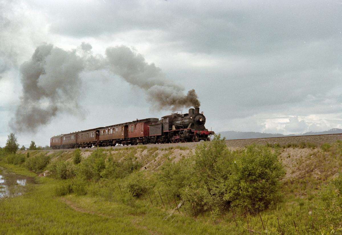 Veterantog på Solørbanen, syd for Kirkenær. Toget trekkes av damplokomotiv type 24b nr. 236.