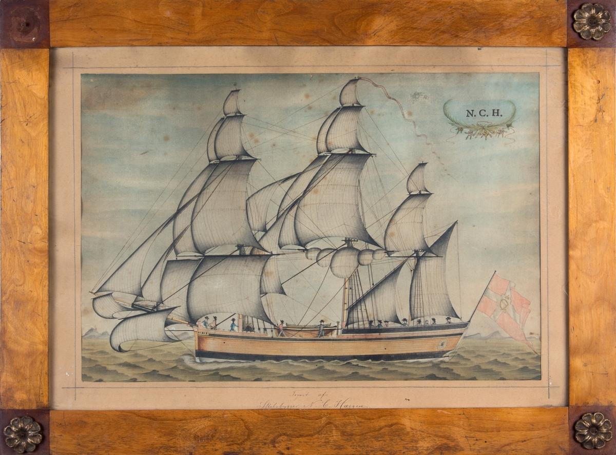 Skipsportrett av ukjent fullrigger med nesten full seilføring. Skipet sett fra langsiden. Dansk flagg med kongelig monogram i midten i akter, og rød vimpel i masten. Ser til sammen 13 personer ombord på dekk.