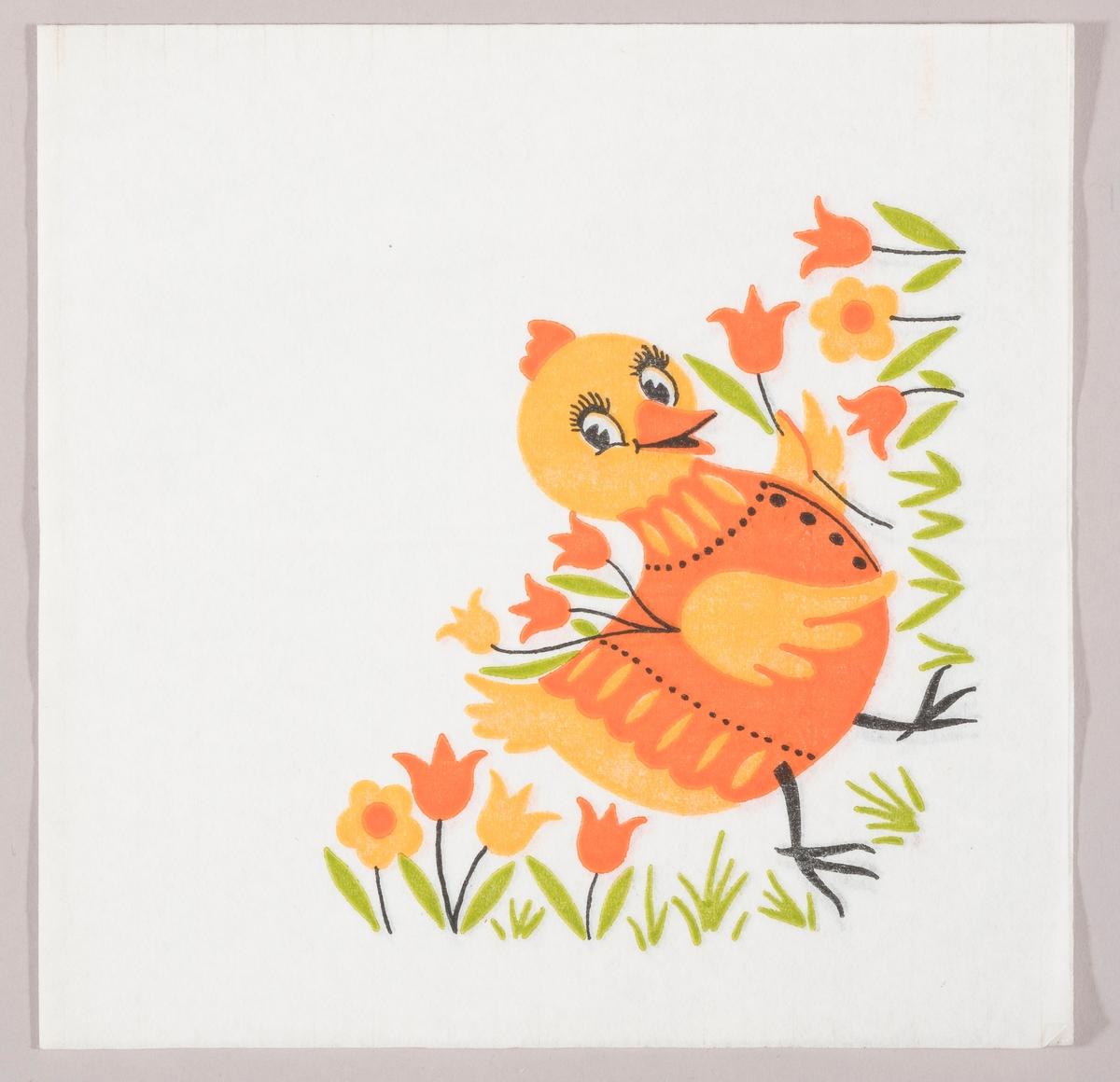 En høne med genser holder tulipaner med vingene mens hun går mellom gress, tulipaner og blomster.