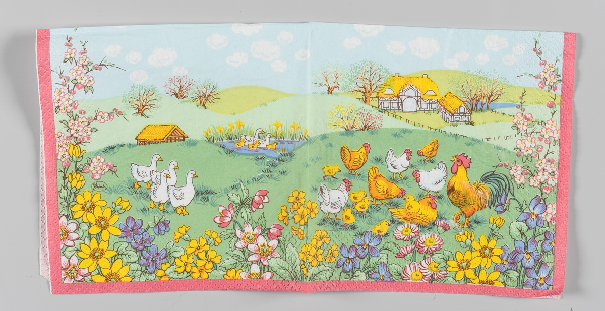 En hane med en flokk med hønser og kyllinger. En gåseflokk og et andepar med andunger i en dam. Forskjellige blomster i forgrunnen. I bakgrunnen et landskap med blomstrende frukttrær og hus i bindingsverk og med stråtak. En lysblå himmel med små hvite skyer. En rosa kantstripe.