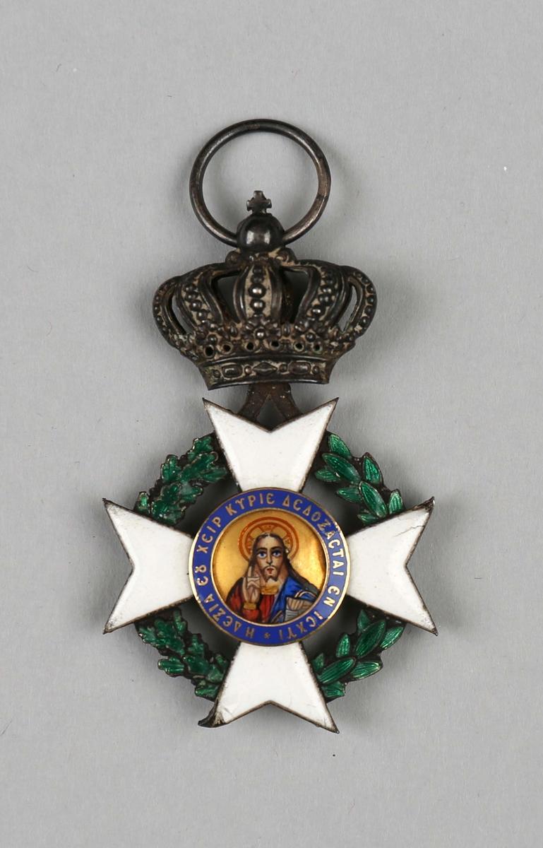Medalje med motiv av helgenbilde på forside og hvitt kors på bakside.