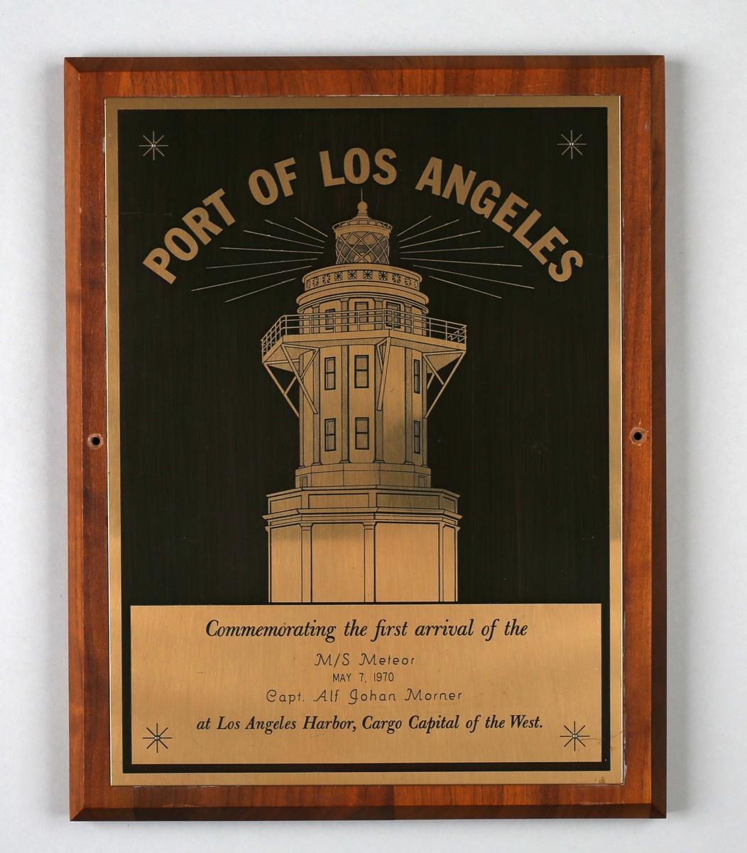 Plakett med motiv av fyrtårn i Los Angeles, California, U.S.A.
