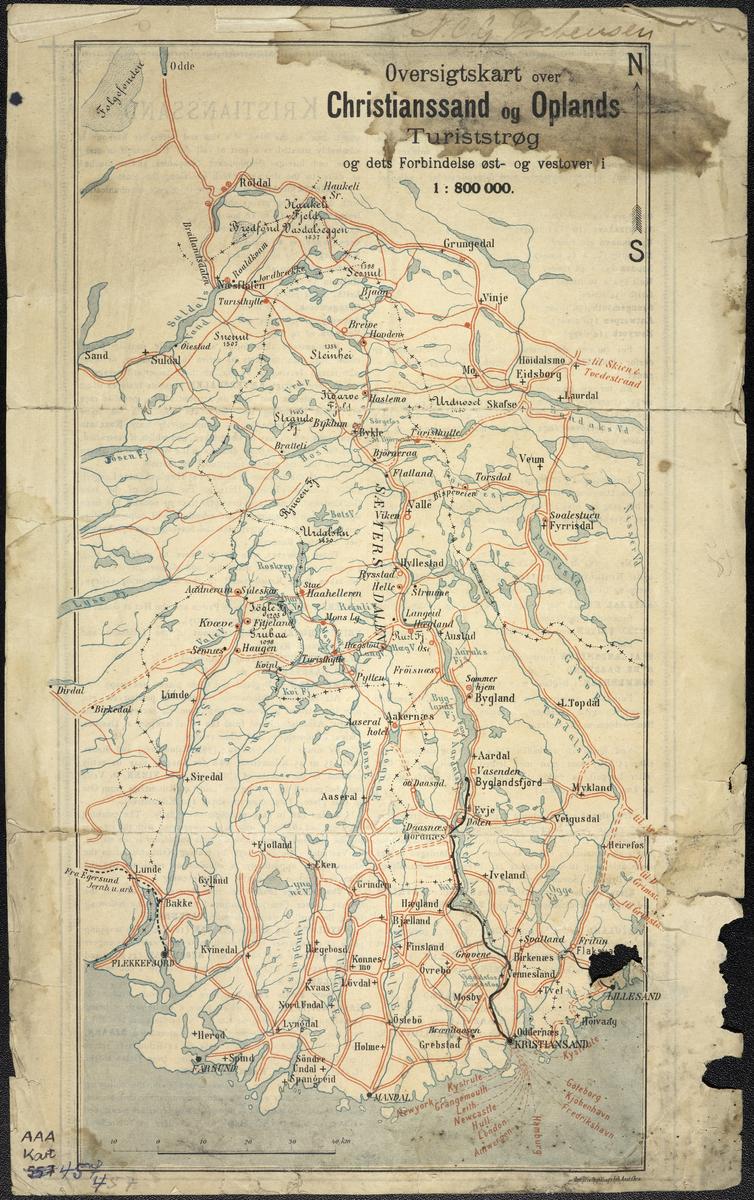 Oversiktskart over Christiansand og Oplands Turistströk