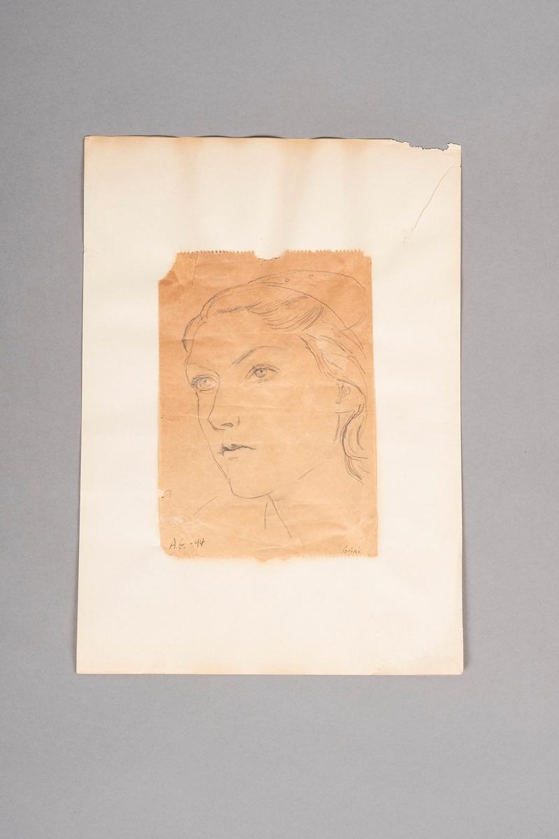 Portrettegning av Ruth Madsen, tegnet av Anita Greve.