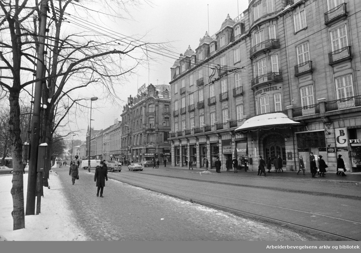 Karl Johans gate. Januar 1970