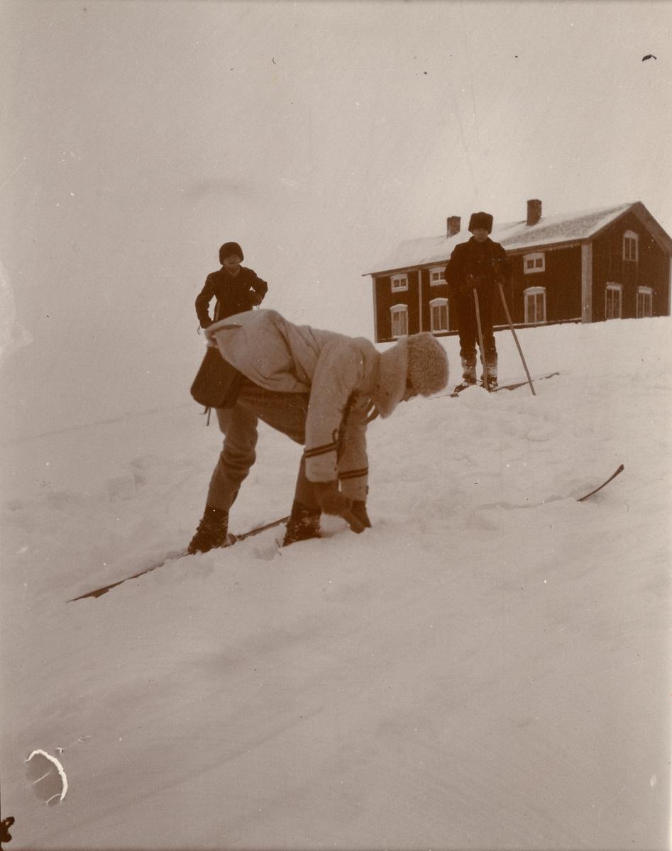 Officerare från Smålands husarregemente K 4 och civila på skidor, vinterövning i Norrbotten omkring 1910.
