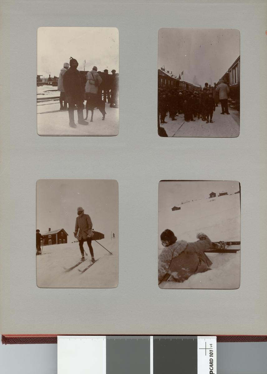På tågperrongen, Smålands husarregemente K 4 och civila under vinterövning i Norrbotten omkring 1910.