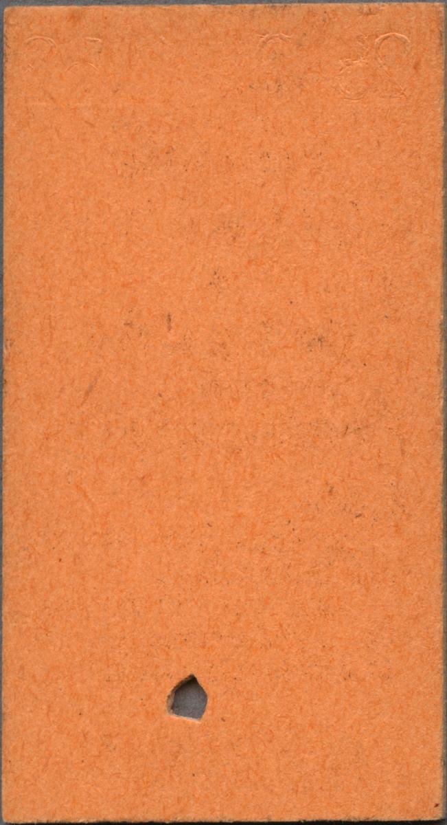 """Brun Edmonsonsk biljett med tryckt text i svart: """"SRJ Persontåg TILLÄGG för resgods från Roslagsnäsby  1.50 Uppvisas vid resgodsets inlämning. Avlämnas vid resgodsets avhämtning å bestämmelsestationen."""". Biljetten har datumet """"25.7.53"""" präglat längst upp. I nederkant står biljettnumret """"04389"""". En biljettång har stansat ett hål.  Historik: Stockholm-Roslagens Järnvägar, SRJ, blev samlingsnamnet för de smalspåriga järnvägslinjerna i Roslagen, Hallstavik, Rimbo med flera platser 1909. Det införlivades med Statens Järnvägar, SJ 1959. Källa: historiskt.nu, 2017-03-27."""