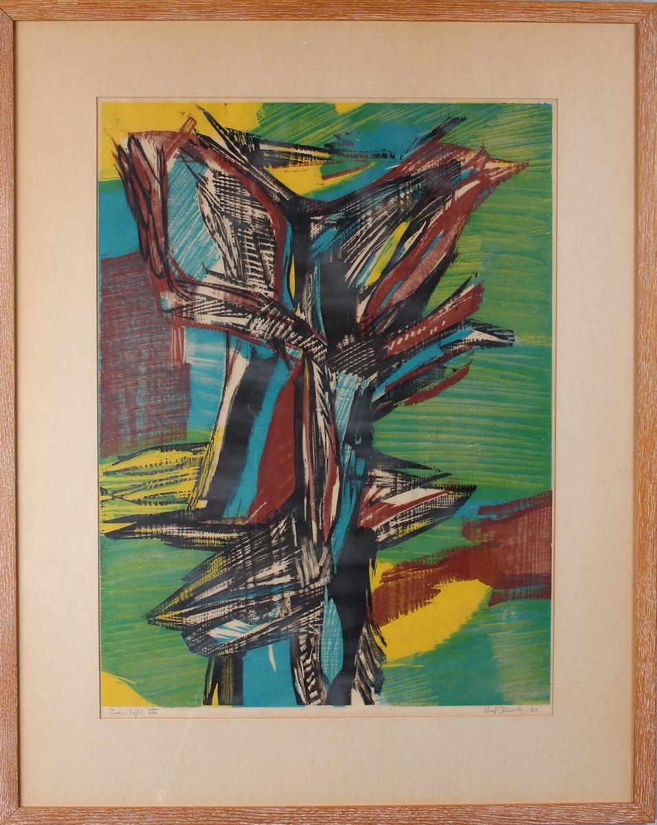 """Fargetresnitt utført av Knut Rumohr """"Tabutrykk III""""."""