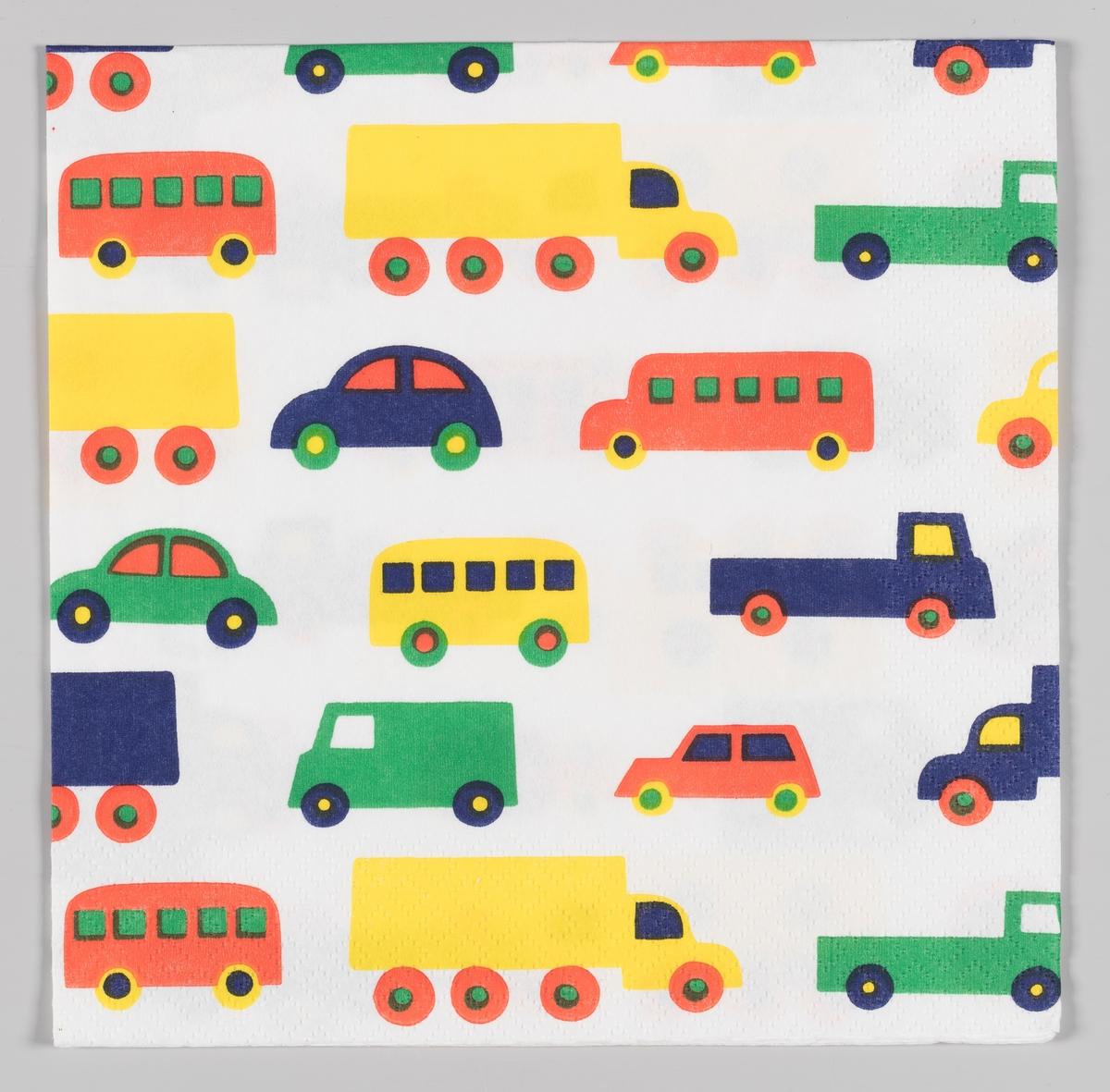 Biler, lastebiler og pickuper i mange farger.