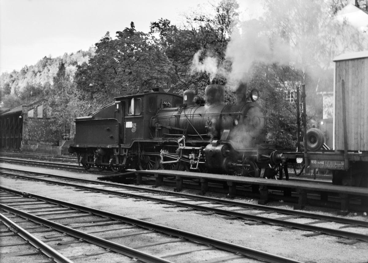 Damplokomotiv type 21b nr. 225 på Arendal stasjon.