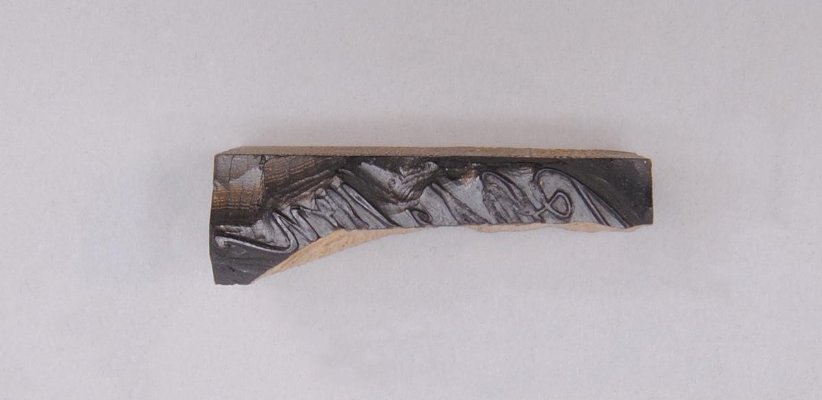 Del av kliché skuren i ljust trä med namnteckning, möjligen Petter Olssons. Klichén har delats eller spruckit isär på mitten.