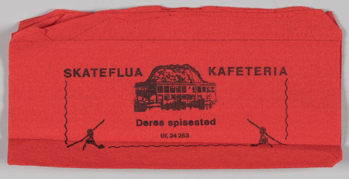 En tegning av bygningen og reklame for Skateflua kafeteria i Ålesund.