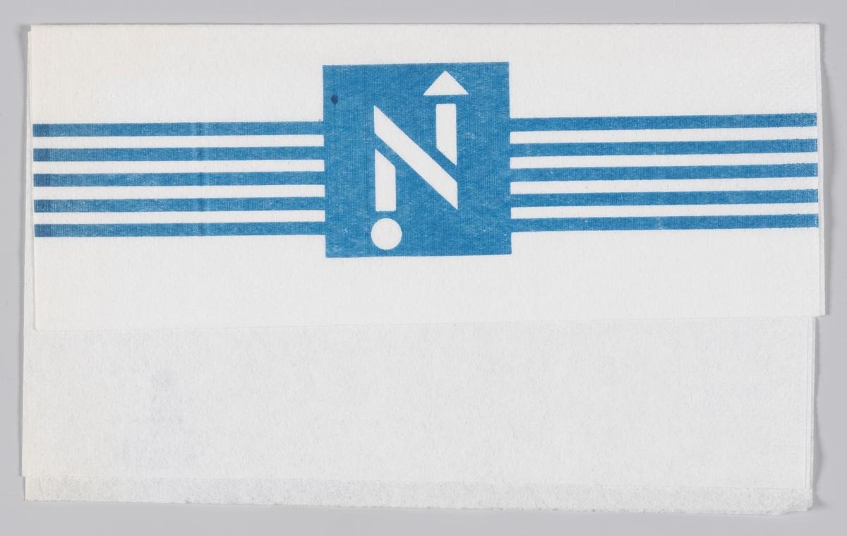 Logoen til kioskkjeden Narvesen.  Narvesen ble etablert i 1894 av Johan Bertrand Narvesen og har vært en viktig servicebedrift i mer enn 100 år. Kjeden er i dag eid av Reitan Convenience, et av de fire forretningsområdene i Reitangruppen. 370 Narvesenkiosker finnes i Norge,  Samme reklame på MIA.00007-004-0180; MIA.00007-004-0181.