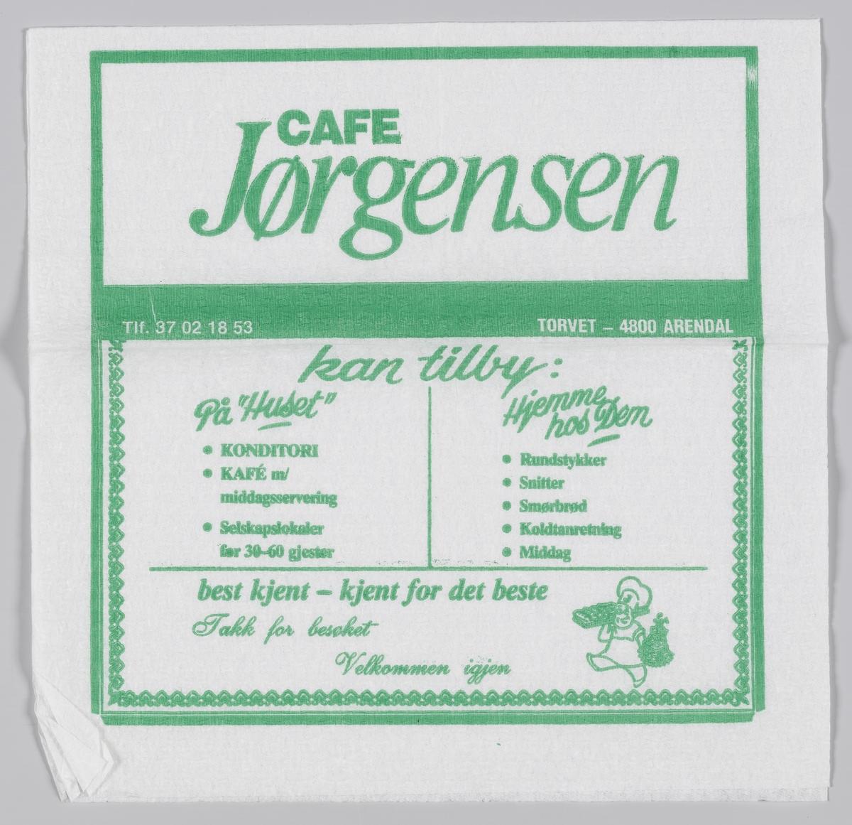 En reklametekst for Cafe Jørgensen i Arendal.  Baker Jørgensen ble etablert av Fredrik Emanuel og Karin Jørgensen i 1904. Deres første dagsomsetning var kr 13,00.  Hoved utsalget og produksjonslokalene hvor vi daglig produserer brød og bakevarer er i hovedbygningen på Torvet, hvor virksomheten har vært siden 1904.  Samme reklame på MIA.00007-004-0200.