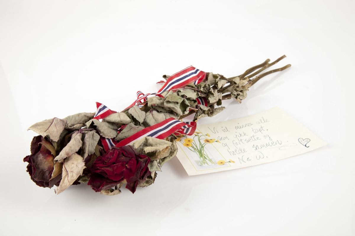 Rose innsamlet etter terrorhandlingen 22. juli 2011 fra minnesmarkeringene i Lillestrøm.   Fire røde roser i bukett som har mørknet en del. Godt bladverk i grønt og sølvgrått. Ingen torner på stilkene. Stilkene er grønne og brune. Båndene holder blomstene sammen på to ulike steder, men henger ellers løst. Kortet som har som dekor, på venstre side, en bukett med gule gerbera i en gjennomsiktig vase. Avsenderen har tegnet er hjerte etter teksten som er skrevet med blå kulepenn. Kortet er festet til buketten med en gummistrikk.