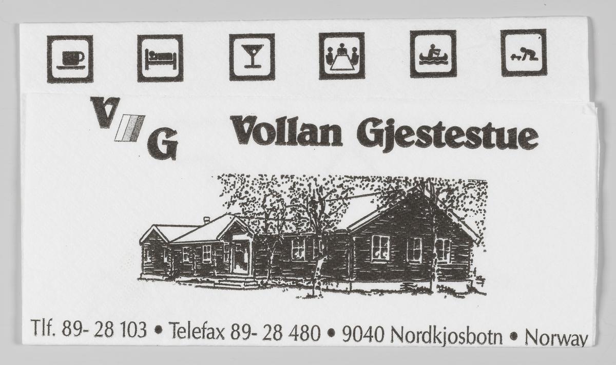 Ikoner for kafe, overnatting, bar, konferanserom, friluftsliv og lekerom og en tegning og reklametekst for Vollan Gjestestue på Nordkjosbotn og et veikart.