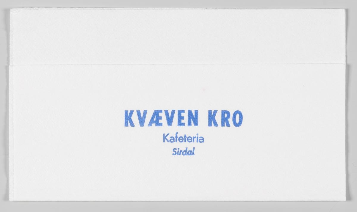 En reklametekst for Kvæven Kro og Kafeteria i Sirdal.  Kvæven Kro og kafeteria i Sirdal, ble startet i 1973 og stengte i 2008.