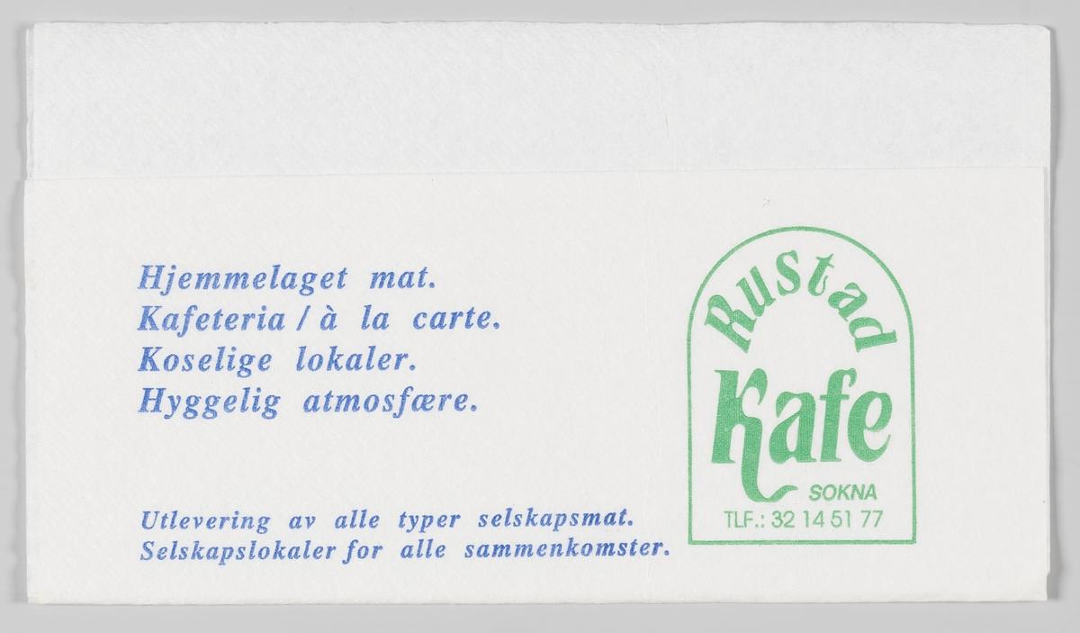 En reklametekst for Rustad Kafe på Sokna.  Rustad Kafe ble etablert i 1947. Gjennom årene har bedriften utviklet seg i takt med trafikken på Riksveg 7.   Samme reklame på MIA.00007-004-0303 og MIA.00007-004-0305.