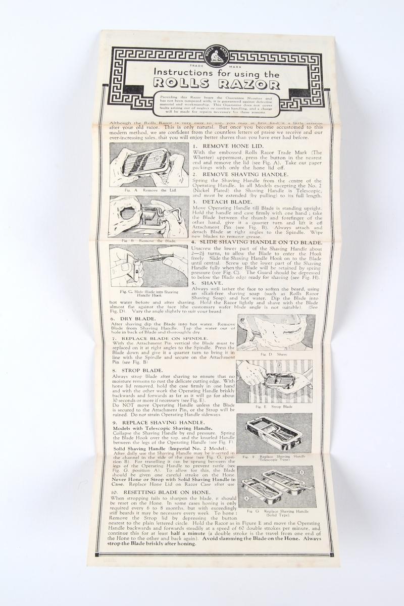 Barberhøvel og tilhørende metalleske oppbevart i original pappemballasje og med bruksanvisninger.