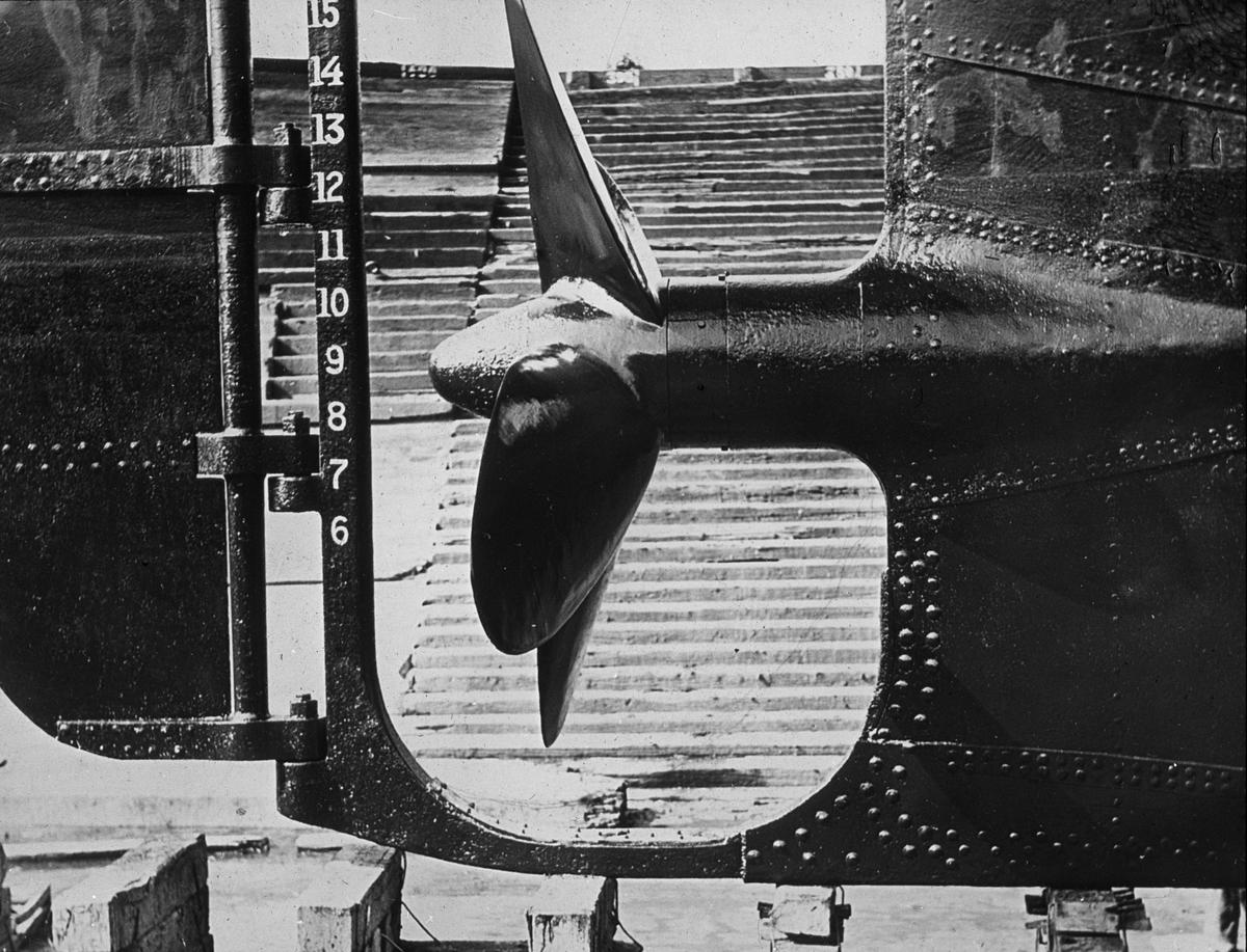 Detaljfoto av fartøyets propell.